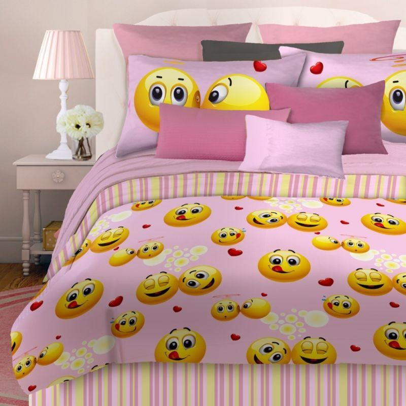 veratex emoji girls pink happy face bed from discountduos