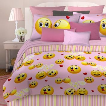 Veratex Emoji Girls Pink Happy Face Bed in Bag Bedding Comforter Set  ALL SIZES