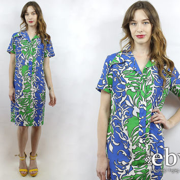 Hawaiian Dress Luau Dress Floral Party Dress 1970s Dress 70s Dress Vintage 70s Hawaiian Floral Party Dress M L