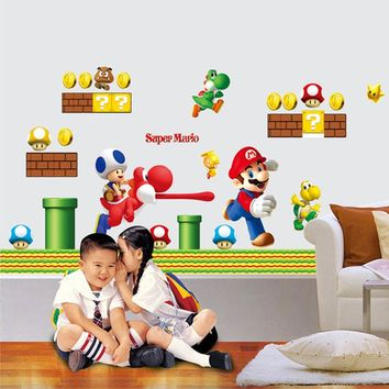 Super Mario Bros Wall Stickers Art Cartoon Wall Decals for Kids rooms Baby Room Home Decoration WallPaper Poster