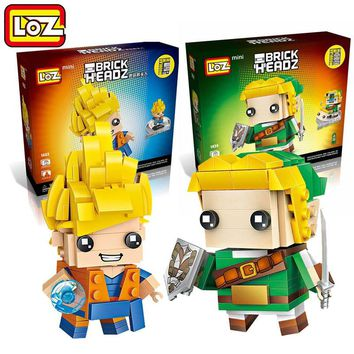 LOZ Blocks Game The Legend of Zelda Link Building Blocks Dragon Ball Son Goku Brick Heads Figure Assemblage Block Set Toys 1424