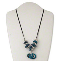 Chunky Freshwater Pearl Shell Metal Silver Black Blue Pendant Bauble Necklace