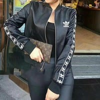 """Adidas"" Women Fashion Logo Letter Stripe Long Sleeve Zip Cardigan Short Section PU Leather Clothes Jacket Coat"