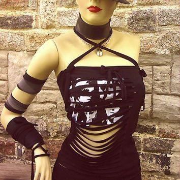 You-bad-Girl sexy survivor slit slash top, DIY handmade to your size, punk gothic dark lolita emo honey