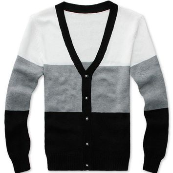 Men Fashion Korean Style Long Sleeve Color Blocking Grey Knitting Cardigan L/XL@S8YJ327-1g $24.99 only in eFexcity.com.