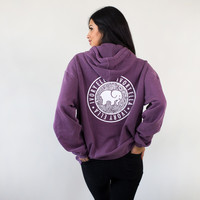 Oversized Berry Medallion Hoodie