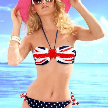 Women's Star-Spangled Bikini Union Jack Flag Swimwear UK Flag Twist Padded Push Up Halter Bathing Suit Flag Bikini