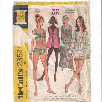 McCall's 2352 Pattern for Misses' Bathing Swim Suit, Cover-Up, Size 10, From 1970, New Easy 2 Color Guide, Vintage Pattern, Home Sew Pattern