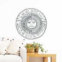 Wall Decal Vinyl Sticker Decals Art Home Decor Murals Quote We live by the sun We feel by the moon Stars Ethnic Symbol Sunshine Bedroom Dorm Window Office Quotes Decals AN215