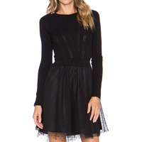 Red Valentino Tulle Skirt Sweater Dress in Black