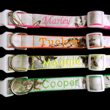 ON SALE Real Camo, Embroidered on Orange, Pink, Green or Yellow Dog Collar - Snow Camo