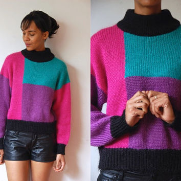 Vtg Color Block Mohair Pink Teal Purple Black Knit Sweater