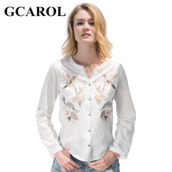 GCAROL 2017 Women Floral Birds Embroidery Blouse V-Neck Single-breasted OL Shirt Fashion High Quality Tops For Ladies