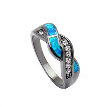 fashion black plated opal jewelry New engagement finger rings for women Wedding Gift blue stone setting size 6-11 Drop shipping