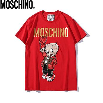 MOSCHINO Summer Newest Women Men Cute Pig Embroidery Round Collar T-Shirt Top Red