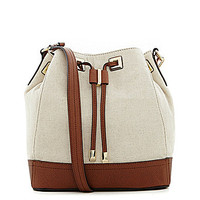 Calvin Klein Mary Canvas Colorblocked Drawstring Shoulder Bag - Natura