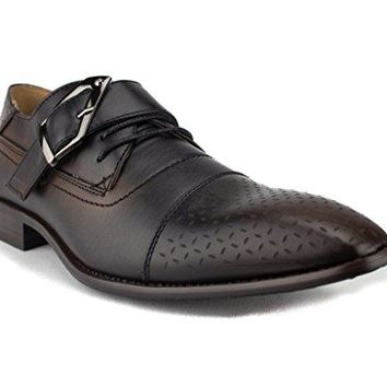 New Men's 97711 Belted Cap Toe Perforated Oxford Shoes