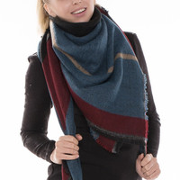 Black Plaid Fringed Trim Blanket Scarf - Blue/Burgundy