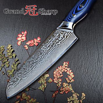 NEW Damascus Kitchen Knife 67 Layers Japanese Santoku Knife Japanese Damascus Stainless Steel VG-10 Chef Knife Cooking Tools