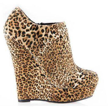 Malina Leopard Print Ankle Boots