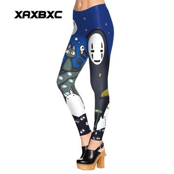 New Arrival 1517 Sexy Girl Cartoon Totoro Cat ghost Comics Printed Elastic Fitness Polyester Workout Women Leggings Pants