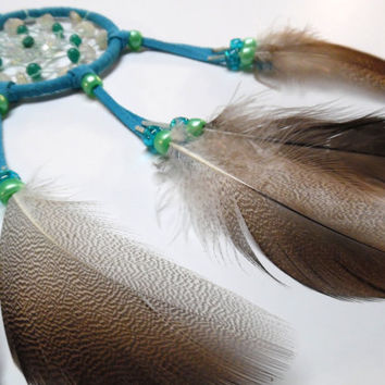Turquoise car dream catcher/ citrine, moonstone, turquoise crystal chips/ goose feathers