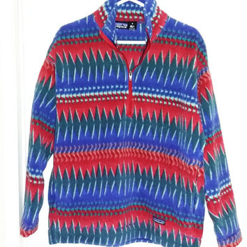 Vintage PATAGONIA Aztec Tribal Polar Fleece 1/2 Zip Top size Medium M Multicolor Thermal Ski Snowboard Winter