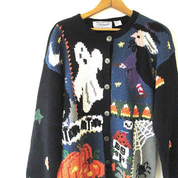Vintage 1990s HALLOWEEN Fall Haunted House Witch Ghost Pumpkins HAND KNIT Cardigan Sweater Sz L