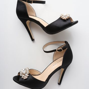 Bethany Black Satin Rhinestone Ankle Strap Pumps
