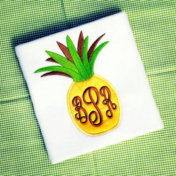 Girls pineapple shirt- preppy monogram- aloha summer- gingham pineapple shirt- appliqué pineapple- girls spring appliqué- affordable free
