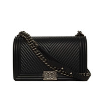 CHANEL '15 Black Chevron Quilted Leather Medium Boy Bag RHW