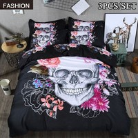 3Pcs 3D Skull Bedding Set Twin Queen King Size Bed Sugar Skull Bed with Flower Housse De Couette Skull Quilt Cover Luxury Beddin