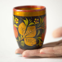 Vintage wooden cup hand painted Russian folk art cup berries decor black red gold shades home decor