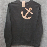 Leather Anchor Jumper Women's Dark Grey Heather Lightweight Crew Neck Sweatshirt