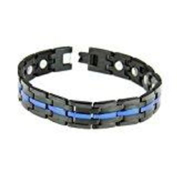 Stainless Steel Thin Blue Line Magnetic Bracelet Police Law Enforcement Trooper Officer