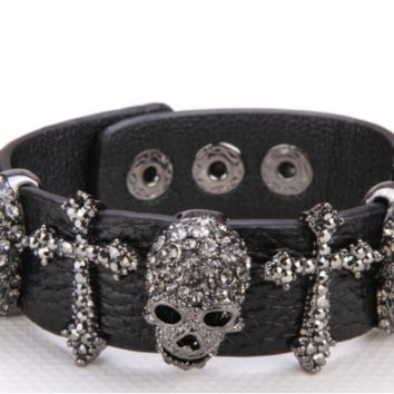 Adjustable Black Leather Bracelet With Skull And Cross With Crystals