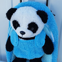 Blue Backpack Panda Bear Removable Blue Plush Toy & Wheels New