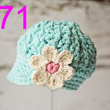 20pcs/lot Crochet Baby Hat, Infant Crochet Hat, Baby Girl Hat, baby Hat with Flowers 100% Cotton NB-6years free shipping