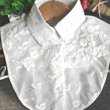 New Women Shirt Fake Collar Double Layer Lace Embroidery Floral Stand Collar Lapel Blouse Detachable Collar Accessories