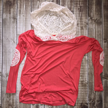 Hoodie w/ Lace Elbow Patch Coral