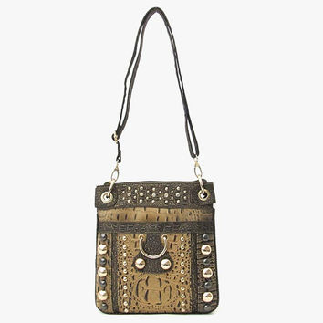 Bronze Faux Alligator Cross Body Messenger Bag