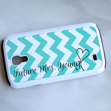 Mint Blue + Chevron Monogram Hybrid Samsung Galaxy S4 Phone Case