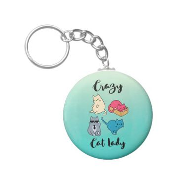 Crazy Cat Lady and 4 Cute Cats Keychain