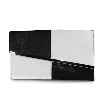 Designer Brand Fight Color Leather Women's Evening Clutch Bags Chain Black and White Large Capacity Envelope Bag Women Party Bag