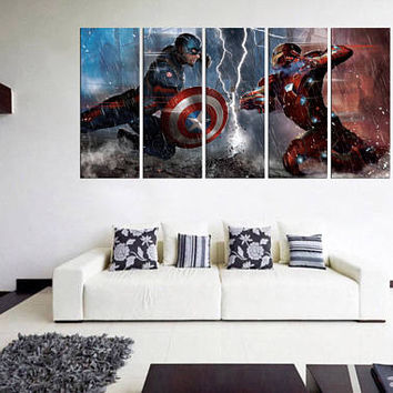 captain america canvas print, extra large wall art, captain america  poster, movie poster, movie wall art, home decor 11m57