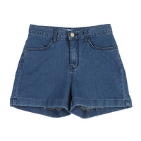 Rolled-Up High-Waist Blue Shorts