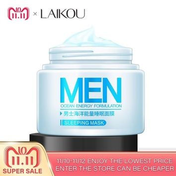 LAIKOU Men Ocean Energy Sleeping Mask Oil Control Shrink pores Acne Blackhead Hydrating Bright Skin Keep Young Beauty Energy