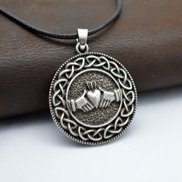 Medieval Style Irish Claddagh Necklace With Celtics Knot Round Coin Pendant
