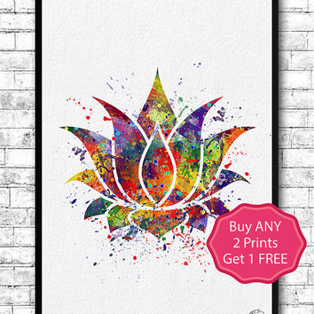 Lotus Flower 2 Watercolor Print Wall Art Poster Giclee Wall Art Home Decor Buddha Art Lotus Flower Poster Yoga Art Wedding Gift Zen decor