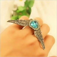 Fashion Adjustable Rhinestone Heart&Flying Wing Large Cocktail Ring